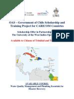 OAS Chile Scholarship Announcement UWI Open Trinidad and Tobago (June 20, 2019)