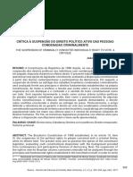 CRÍTICA À SUSPENSÃO DO DIREITO POLÍTICO ATIVO DAS PESSOAS CONDENADAS CRIMINALMENTE