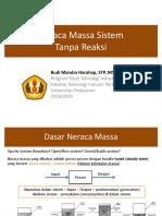 1. Neraca Massa Sistem Tanpa Reaksi