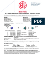 Nexxt Solutions Etl Verified Certificate for Cat6 3 Connector Channel