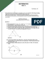 MOCK TEST -I - Mathematics -Class X