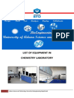 List of Equipment in Chemistry Laboratory