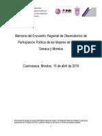 Memoria del Encuentro Regional de Observatorios de Participación Política de las Mujeres de Guerrero, Oaxaca y Morelos