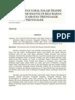 Nilai Kearifan Lokal Dalam Tradisi Nyadran Dam Bagong Di Kelurahan Ngantru Kecamatan Trenggalek Kabupaten Trenggalek