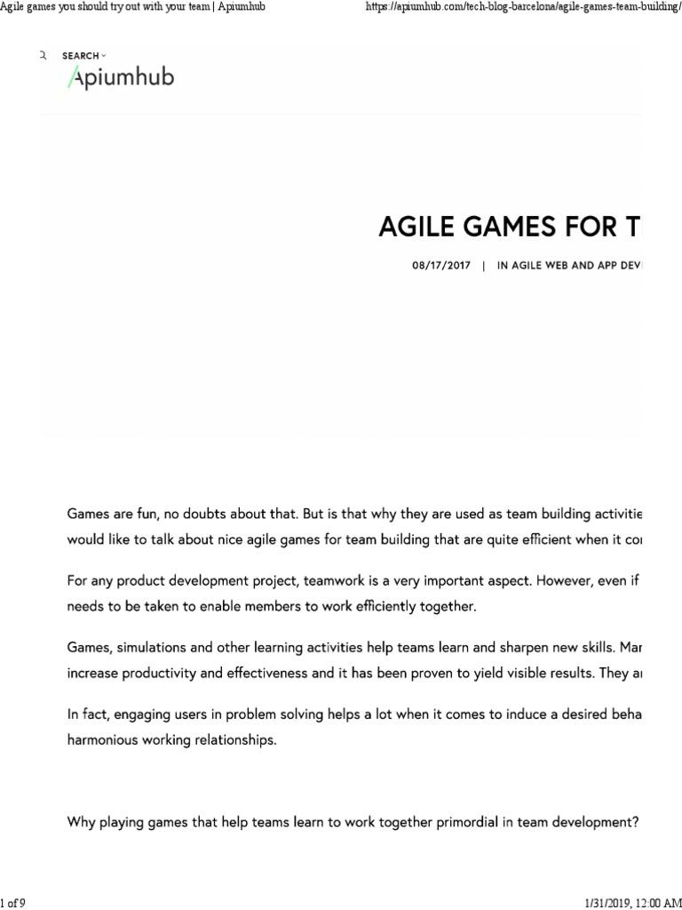 Agile Fun Games agile games