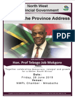Speech by Premier Job Mokgoro 2019