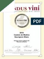 Medalla de Oro en la edición de invierno de MUNDUS Vini 2019 (Alemania)
