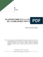 Incertidumbre en La Calibracion de Tipo Vernier(Conceptos Basicos)
