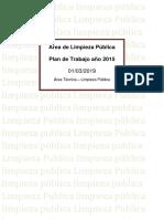 Plan de Trabajo Del Área de Limpieza Pública 2019