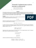 Uso de La Transformada Z Unilateral Para Resolver Ecuaciones en Diferencias