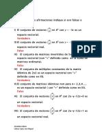 Espacios Vectoriales Cuestionario