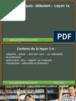 Cours de Français –Débutant – Leçon 1a