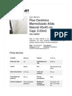 Piso Cerámico Marmolizado Alida Natural 45x45 Cm Caja