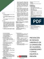 ASISTENCIA TÉCNICA IN HOUSE EN PREVENCIÓN DE RIESGOS LABORALES EN LA OPERACIÓN DE CALDEROS, COMPRESORES Y OTROS EQUIPOS A PRESIÓN.