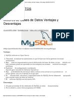 Motores de Bases de Datos Ventajas y Desventajas _ BASES de DATOS