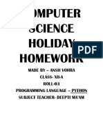 Computer Science Holiday Homework