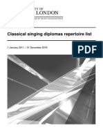 Classical Singing Diplomas Repertoire List