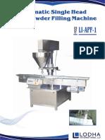 Automatic Single Auger Powder Filling Machine, LI_APF 1