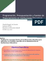 Programación, Presupuestación y fuentes de financiamiento en