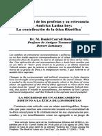 Carroll Rodas, Daniel. La Etica Social de Los Profetas y Su Relevancia Para America Latina Hoy, La Contribucion de La Etica Filosofica