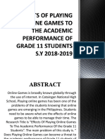 Effects of Playing Online Games to the Academic
