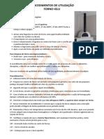 Procedimentos de Utilização - Forno Iglu