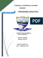 Programa Analitico Cardiologia 2019