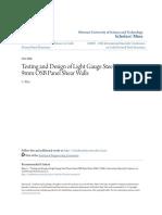 Testing and Design of Light Gauge Steel Frame 9mm OSB Panel Shear