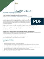 248516 Cambridge English Key for Schools Faqs