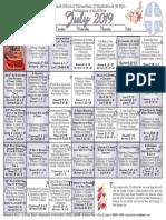2019 July Festal Calendar