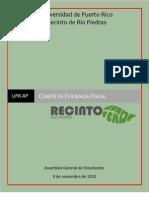 Informe Final del Comité de Eficiencia Fiscal - Proyecto Recinto Verde