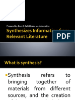 Synthesizes Information From Relevant Literature