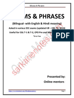 Ssc All Previous Year Asked Idiom & Phrase PDF ( for More Book - Sarkarienotes.com )