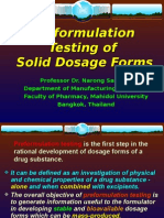 Pre Formulation Testing of Solid Dosage Forms