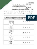 Prueba de Diagnostico de Lenguaje Primero Basico