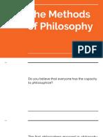 The Methods of Philosophy