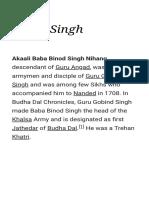 History of Binod singh sikh worrior