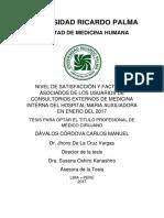 NIVEL DE SATISFACCIÓN Y FACTORES  ASOCIADOS DE LOS USUARIOS DE  CONSULTORIOS EXTERNOS DE MEDICINA  INTERNA DEL HOSPITAL MARIA AUXILIADORA