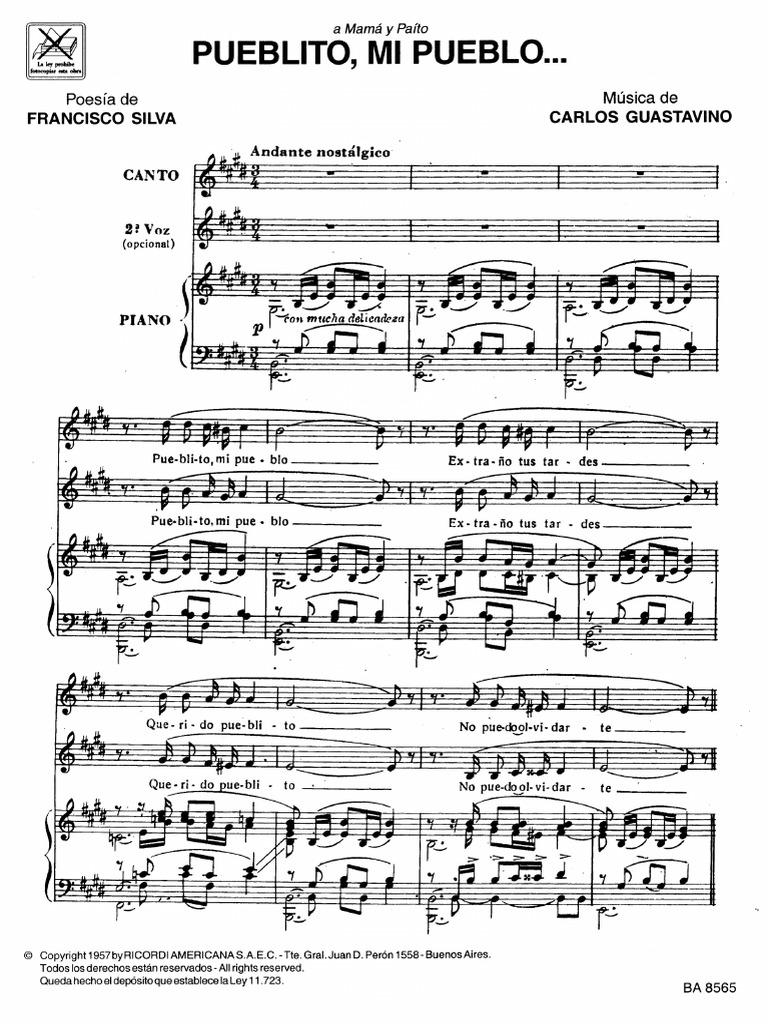 Voz Y Piano Pueblito Mi Pueblo Carlos Guastavino Pdf