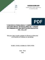 2010_Barraza_Conciencia fonológica y comprensión de lectura inicial en escolares de 1° grado de primaria de una institución educativa del Calla