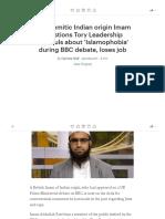Anti-Semitic Indian Origin Imam Questions Tory Leadership Hopefuls About 'Islamophobia' During BBC Debate, Loses Job