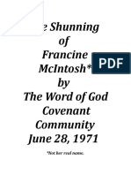 The Shunning of Francine McIntosh by the Word of God Covenant Community
