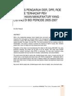 .Analisis Pengaruh DER, DPR, ROE Dan Size Terhadap PBV Perusahaan Manufaktur Yang Listing Di BEI Periode 2005-2007
