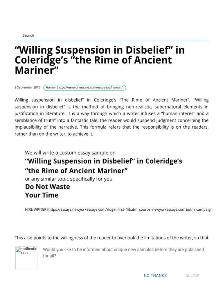 Willing Suspension in Disbelief