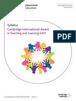 493304 Cambridge International Award in Teaching and Learning Syllabus