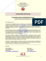 Comunicado de Prensa - Confederación Estudiantil Nacional