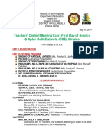 Minutes of the District Teachers' Meeting