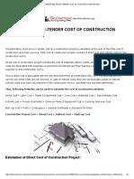 Estimate Bid Price-tender Cost of Construction Project