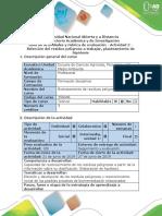 Guía de Actividades y Rúbrica de Evaluación - Actividad 2 - Selección Del Residuo Peligroso a Trabajar, Planteamiento de Hipótesis