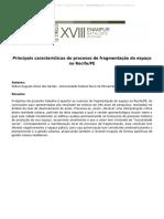 Principais características do processo de fragmentação do espaço no Recife